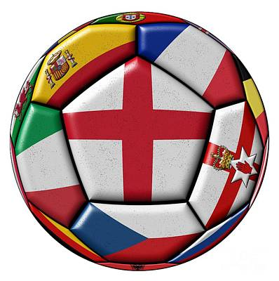 Soccer Ball With Flag Of England In The Center Poster by Michal Boubin