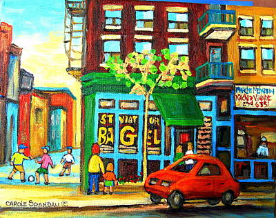 Soccer Game At The Bagel Shop Poster by Carole Spandau