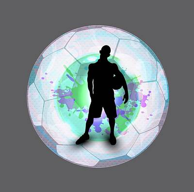 Soccer Player Posing With Ball Soccer Background Poster by Elaine Plesser