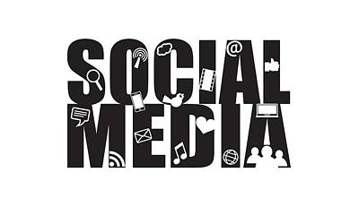Social Media Text Outline With Symbols Poster