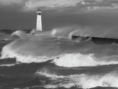 Poster featuring the photograph Sodus Point Light During The Storm by Chris Babcock