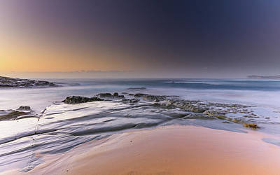Soft And Rocky Sunrise Seascape Poster