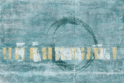 Soft Blue Enso Circle Poster by Carol Leigh