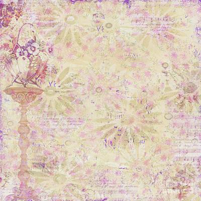 Soft Elegant Floral Pattern Peachy Mauve Design By Megan Duncanson Poster