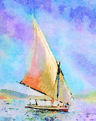 Poster featuring the painting Soft Evening Sail by Angela Treat Lyon