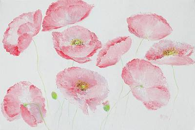 Soft Pink Poppies Poster