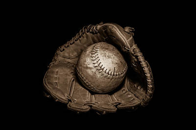 Softball And Glove In Sepia Poster