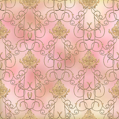 Softly Summer - French Parisian Apartment Damask Poster by Audrey Jeanne Roberts