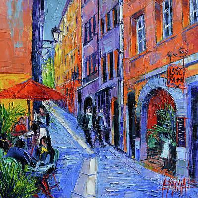 Sol Cafe Lyon Modern Impressionist Palette Knife Oil Painting Poster