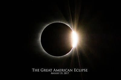 Poster featuring the photograph Solar Eclipse Diamond Ring With Text by Lori Coleman