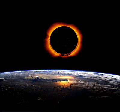 Solar Eclipse From Above The Earth Poster