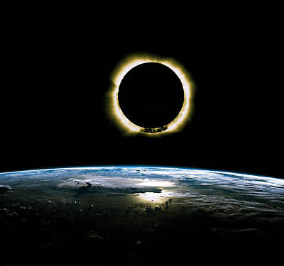 Solar Eclipse From Above The Earth - Infrared View Poster