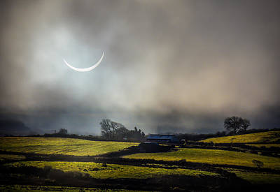 Solar Eclipse Over County Clare Countryside Poster