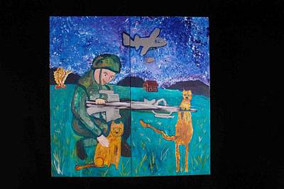 Soldier And Two Cats Poster