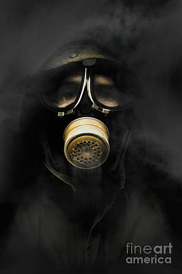 Soldier In Gas Mask Poster