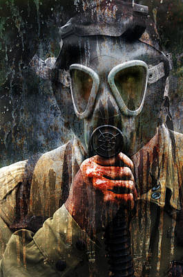 Soldier In World War 2 Gas Mask Poster