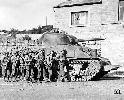 Soldiers And Their Tank Advance Poster
