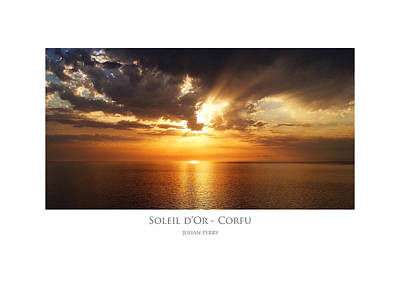 Poster featuring the digital art Soleil D'or - Corfu by Julian Perry