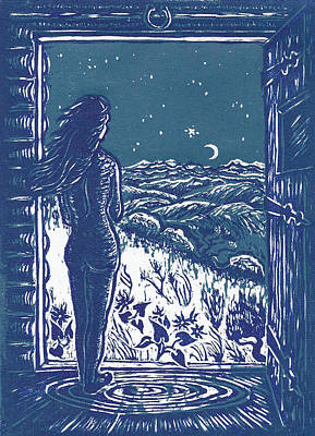 Poster featuring the drawing Solitude by Dawn Senior-Trask