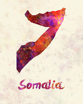 Somalia In Watercolor Poster by Pablo Romero