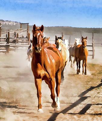 Poster featuring the digital art Sombrero Ranch Horse Drive, Galloping Into The Dusty Corrals by Nadja Rider