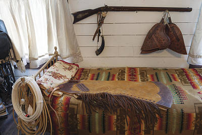 Some Genuine Old West Articles Displayed Inside A Bunkhouse  Poster