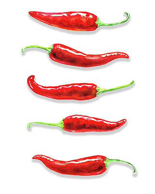 Poster featuring the painting Some Likes It Hot Red Chili  by Irina Sztukowski