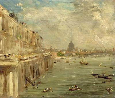 Somerset House Terrace From Waterloo Bridge Poster by John Constable