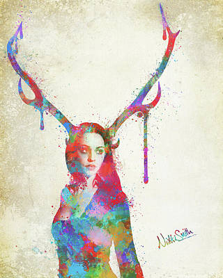 Song Of Elen Of The Ways Antlered Goddess Poster by Nikki Marie Smith