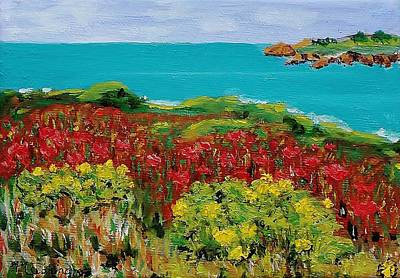 Sonoma Coast With Wildflowers Poster by Mike Caitham