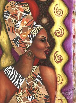Poster featuring the mixed media Sophisticated Safari by Alga Washington