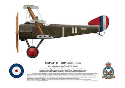 Sopwith Triplane - N5454 - Side Profile View Poster by Ed Jackson