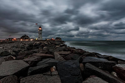 Stormy Clouds Over Old Scituate Lighthouse In The Early Morning Poster
