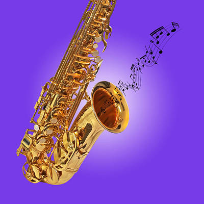 Sounds Of The Sax In Purple Poster
