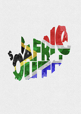 South Africa Typographic Map Flag Poster