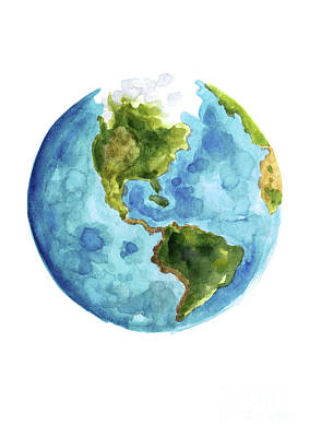 Planet Earth, South America Illustration, Watercolor World Map Painting Poster by Joanna Szmerdt
