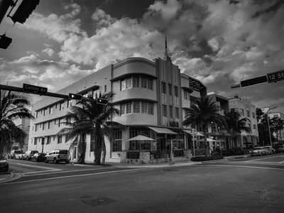 South Beach - Collins Avenue 001 Bw Poster