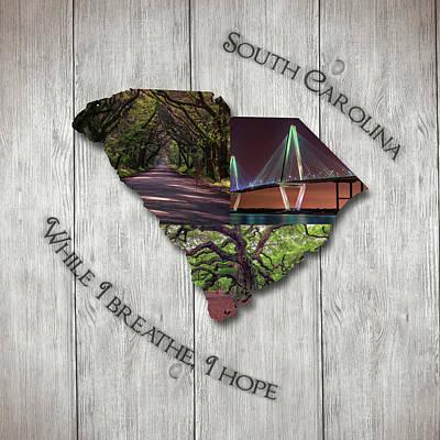 South Carolina State Map Collage Poster