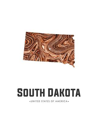 South Dakota Map Art Abstract In Brown Poster