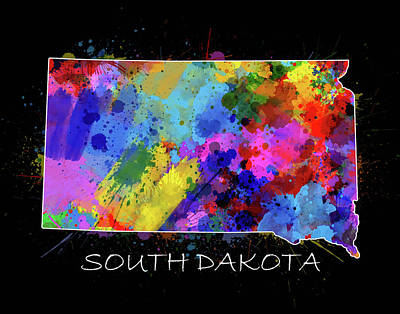 South Dakota Map Color Splatter 2 Poster