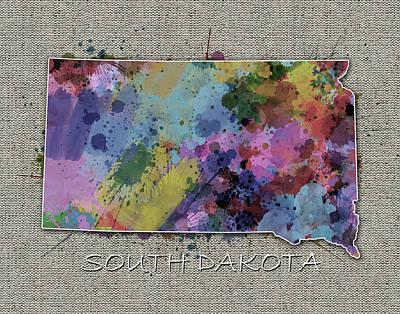South Dakota Map Color Splatter 5 Poster