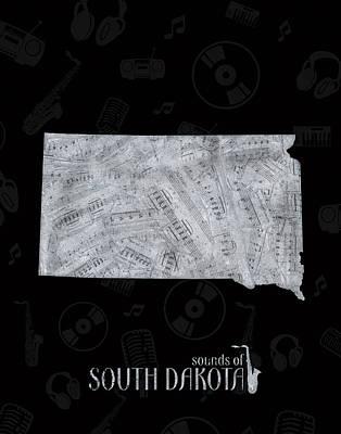 South Dakota Map Music Notes 2 Poster