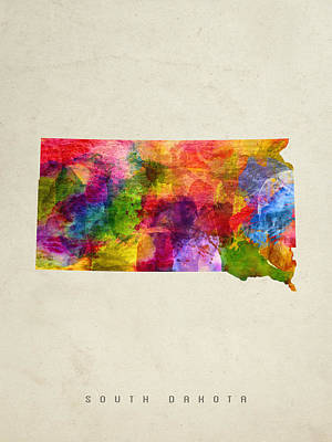 South Dakota State Map 02 Poster by Aged Pixel