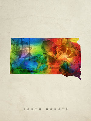 South Dakota State Map 03 Poster by Aged Pixel