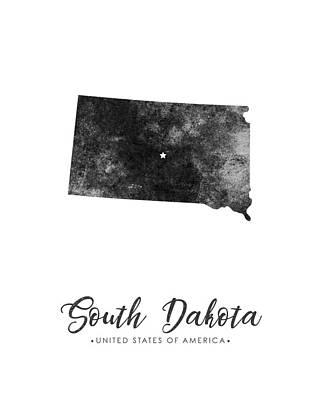 South Dakota State Map Art - Grunge Silhouette Poster