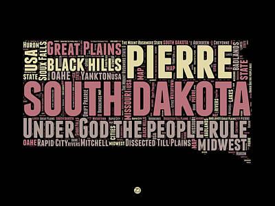South Dakota Word Cloud 2 Poster by Naxart Studio