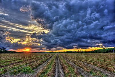 South Georgia Peanut Field Stormy Start Sunset Poster by Reid Callaway