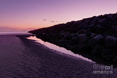 South Jetty And The Moon Poster