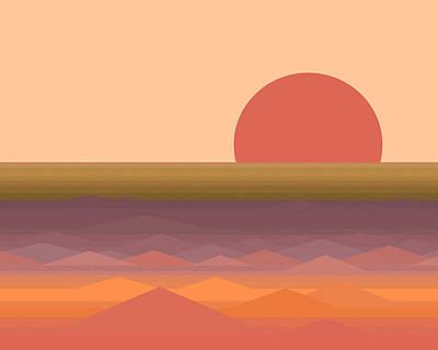 Poster featuring the digital art South Seas Abstract Sunrise by Val Arie