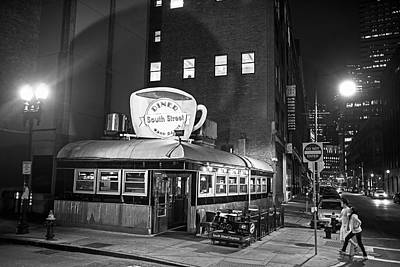 South Street Diner Shahow Of The Cup Boston Ma Black And White Poster